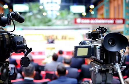 Webcasting equipment in use at a corporate event